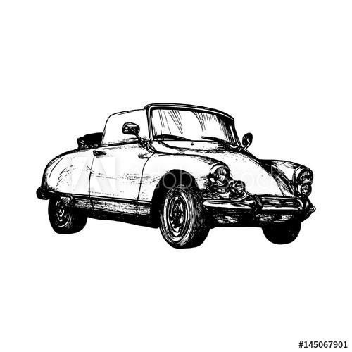 500x500 Retro Sport Car Vector Illustration. Hand Sketched Retro