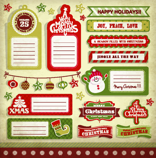 500x506 Vintage Christmas Elements And Labels Vector 04 Fdf Xmas