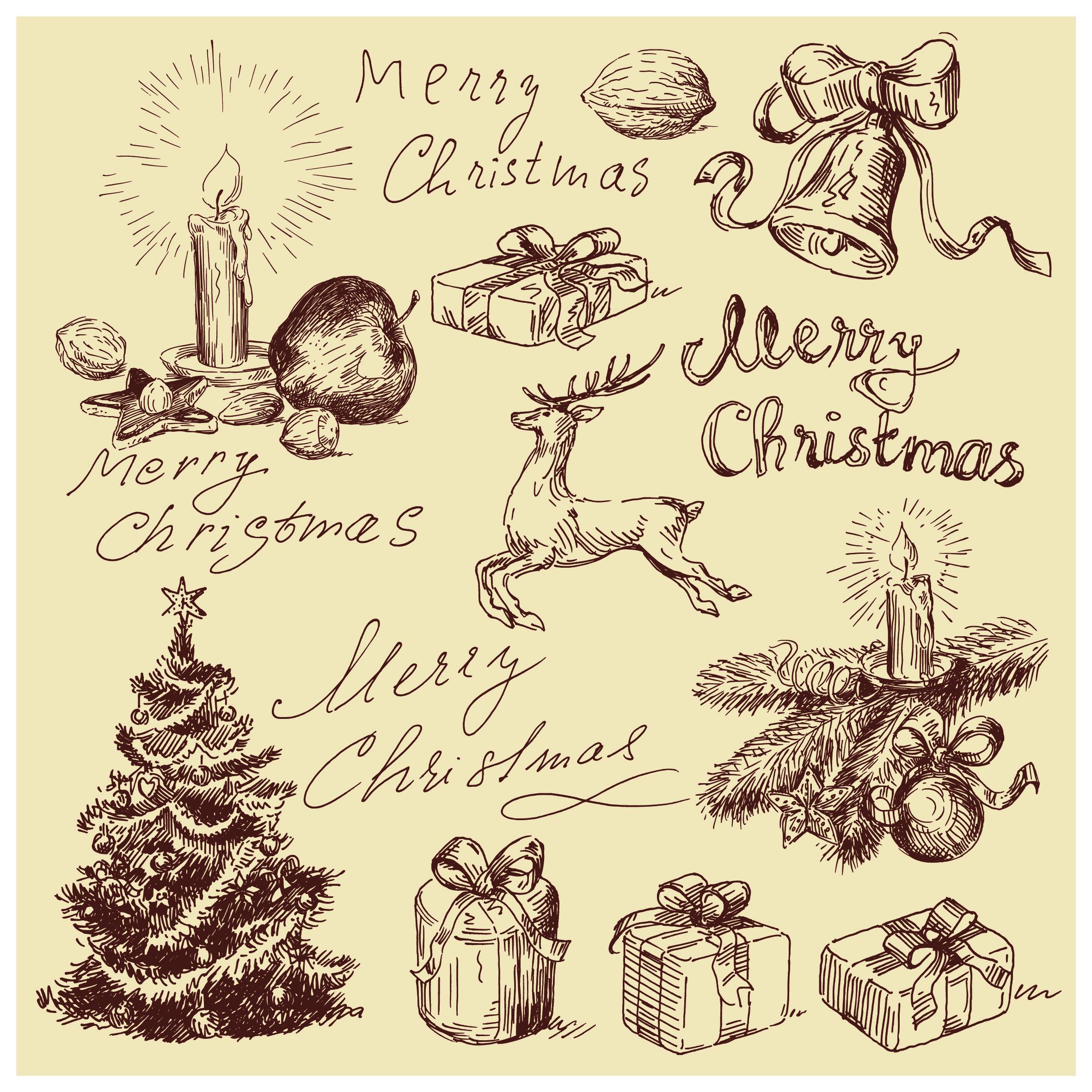 2362x2362 Free Vintage Christmas Card Merry Christmas Calligraphic