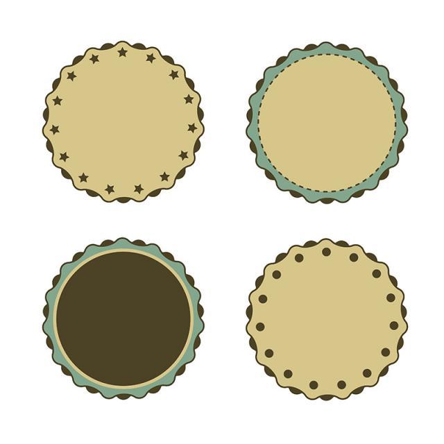 640x640 Circle Sticker Vintage. Vector Collection., Circle Vector, Sticker