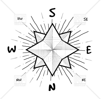 400x393 Hipster Style Vintage Compass With Starbursts Ray Vector Image
