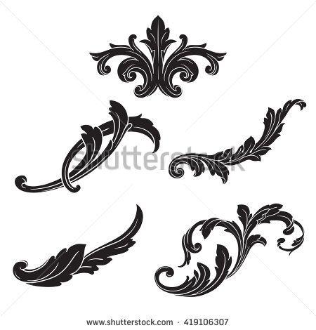 450x470 Illustration Of Set Of Vintage Design Elements. Baroque Vector