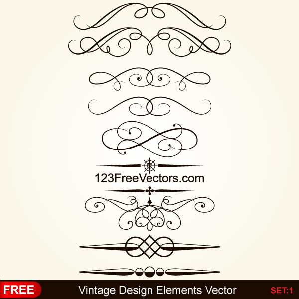 600x600 Vintage Calligraphic Decorative Elements Vector By 123freevectors