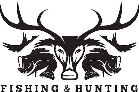 451x299 Hunting And Fishing Vintage Emblem Vector Design Template Premium