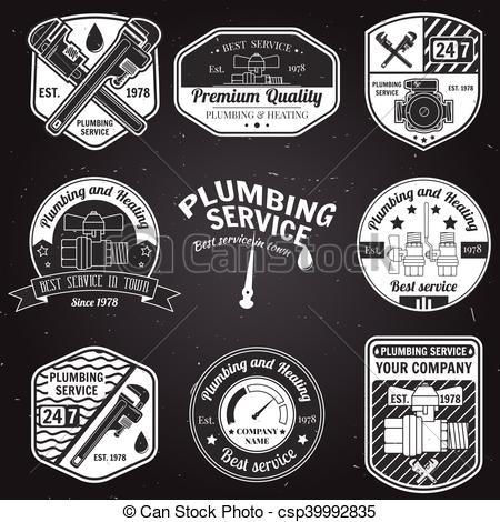 450x470 Set Of Retro Vintage Plumbing Service Badges. Set Of Retro Vintage