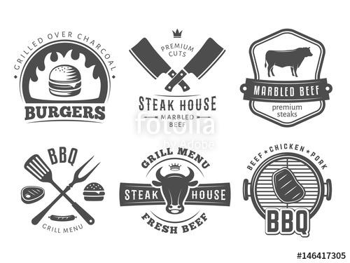 500x375 Smoked, Bbq, Burger, Grill Badges. Set Of Vector Barbecue Logos