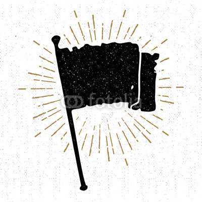 400x400 Hand Drawn Vintage Icon With A Textured Flag Vector Illustration