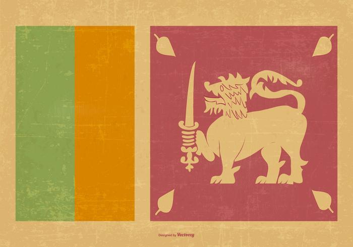 700x490 Vintage Flag Of Sri Lanka