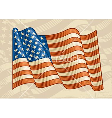 380x400 Vintage American Flag Vector