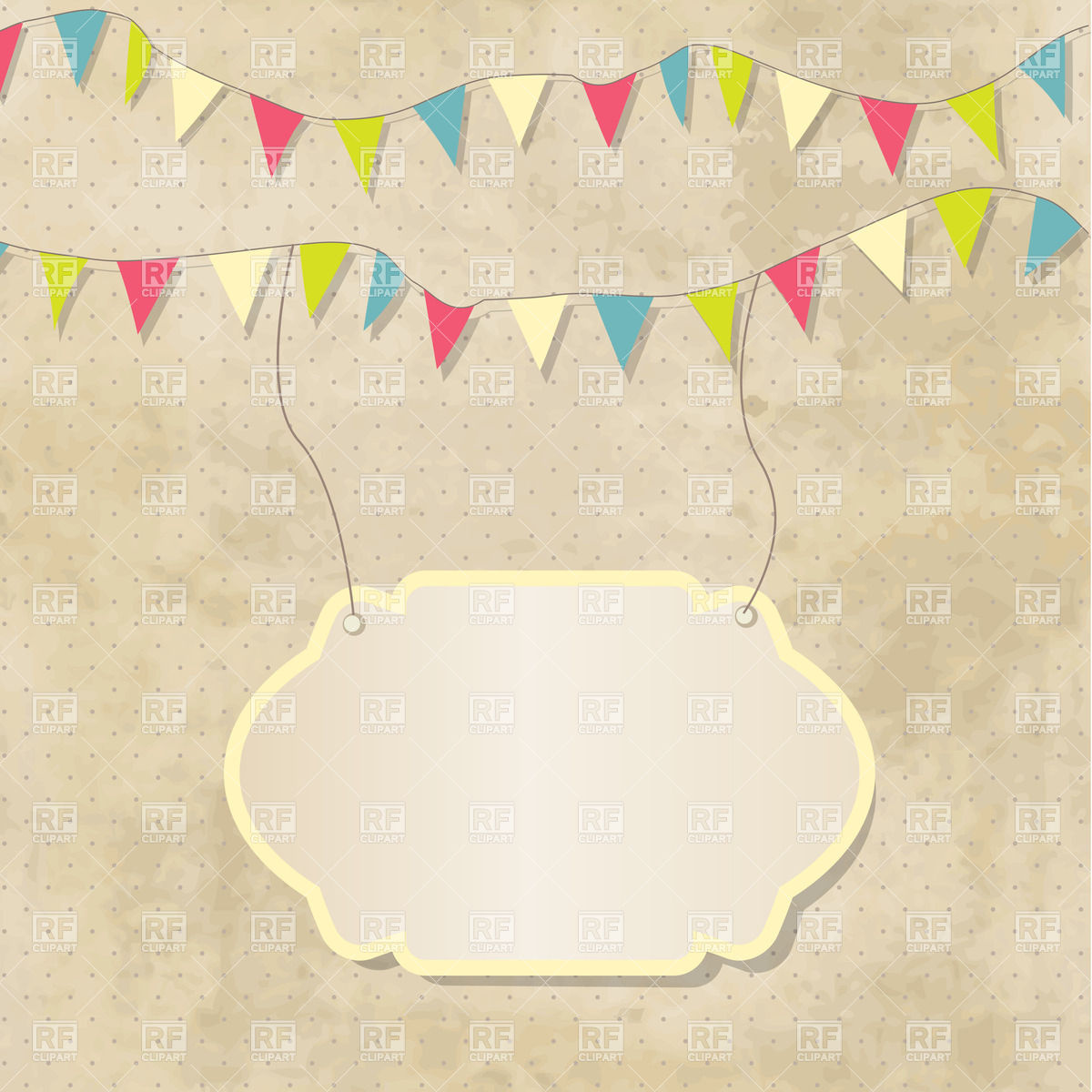 1200x1200 Vintage Frame With Birthday Bunting Flags Vector Image Vector
