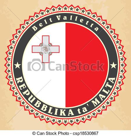 450x470 Vintage Label Cards Of Malta Flag. Vector.