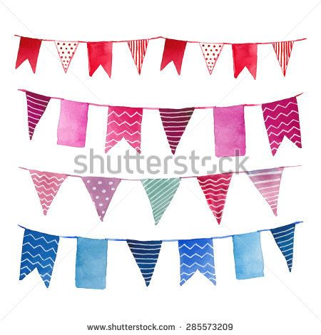 450x470 Watercolor Vintage Flags Garlands Set In Vector. Party, Baby Room