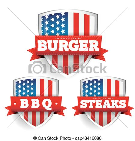 450x470 Burger, Steaks, Bbq Vintage Shield With Usa Flag Vector.