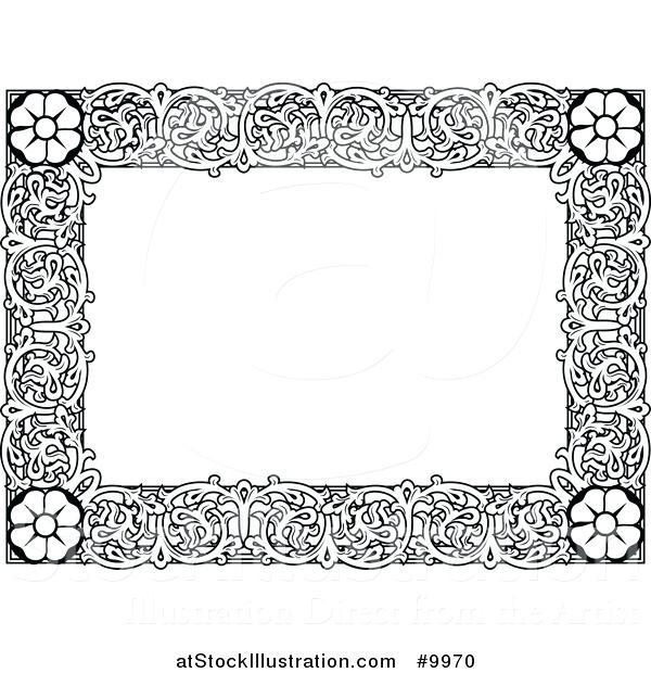 600x620 White Ornate Frame Vector Illustration Of A Black And White Ornate