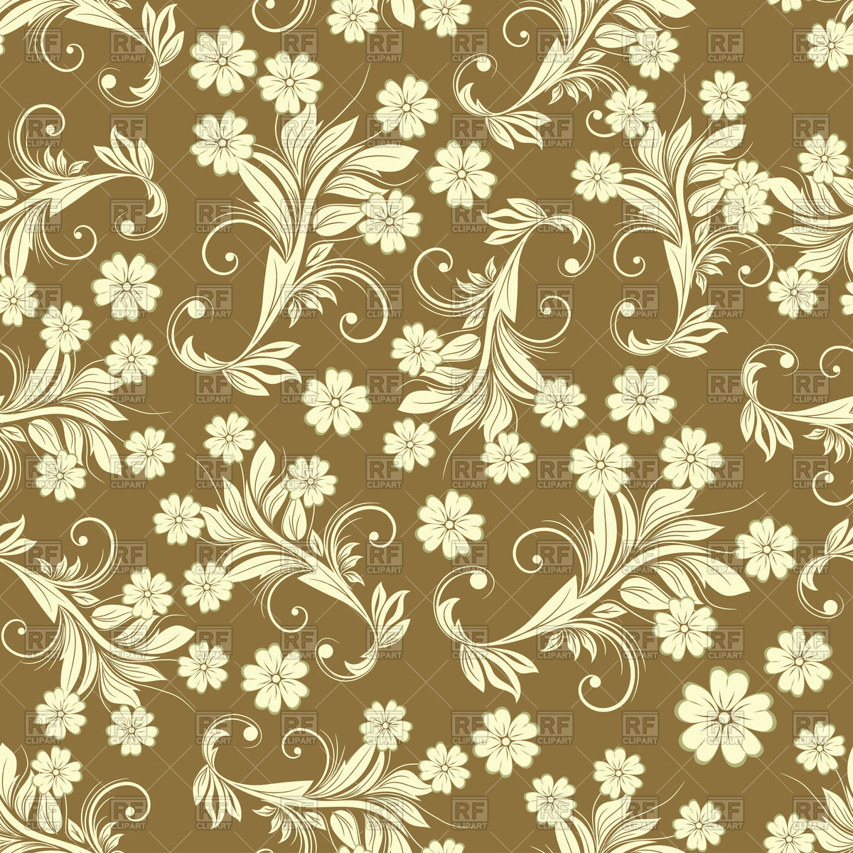 1200x1200 Seamless Brown Vintage Floral Pattern Vector Image Vector