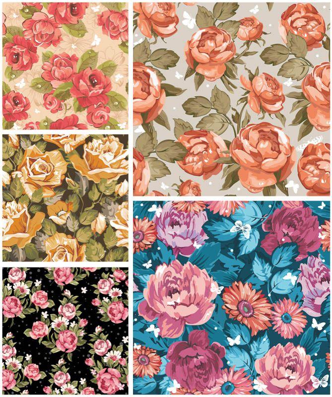 669x800 Vintage Floral Pattern Set Of 5 Vector Vintage Spring Floral