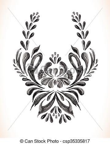 358x470 Vintage Floral Pattern. Vector Floral Background. Vintage