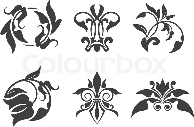 800x522 Antique Vintage Floral Patterns Isolated On White Stock Vector