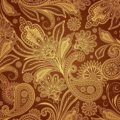 460x463 Free Vintage Gold Floral Pattern Vector 02