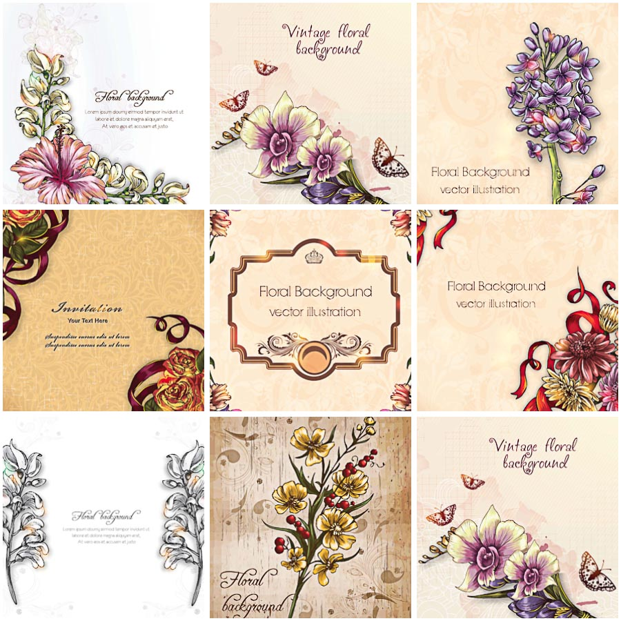 Vintage Floral Vector At Getdrawings Free Download