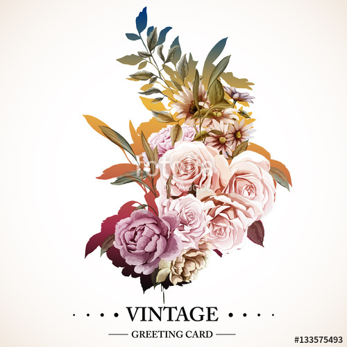 500x500 Flowers. Bouquet Of Roses, Carnations And Peony. Vintage Picture
