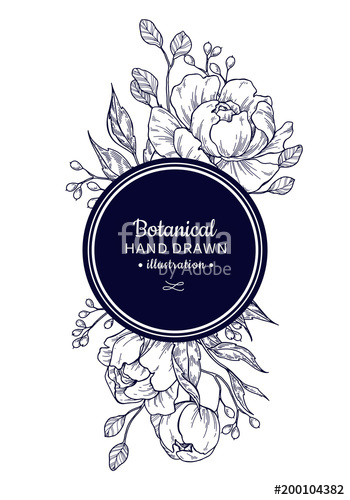 350x500 Vintage Flower Vector Frame Drawing. Peony, Rose, Leaves And Ber