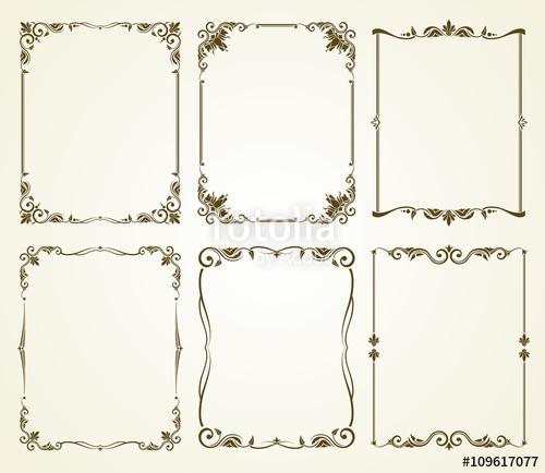 500x434 Vector Vintage Calligraphic Frames Set. Vintage Frame