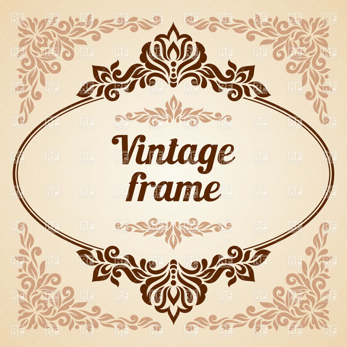 1200x1200 Oval Vintage Frame With Curly Decoration Vector Image Vector