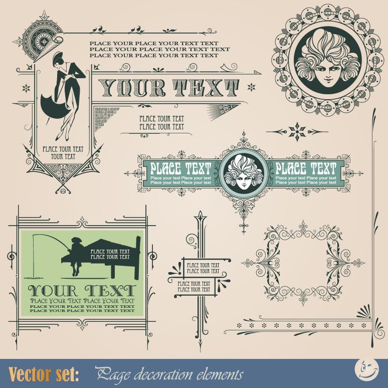 774x774 Vintage Frame Decoration Elements Free Vector Graphic Download