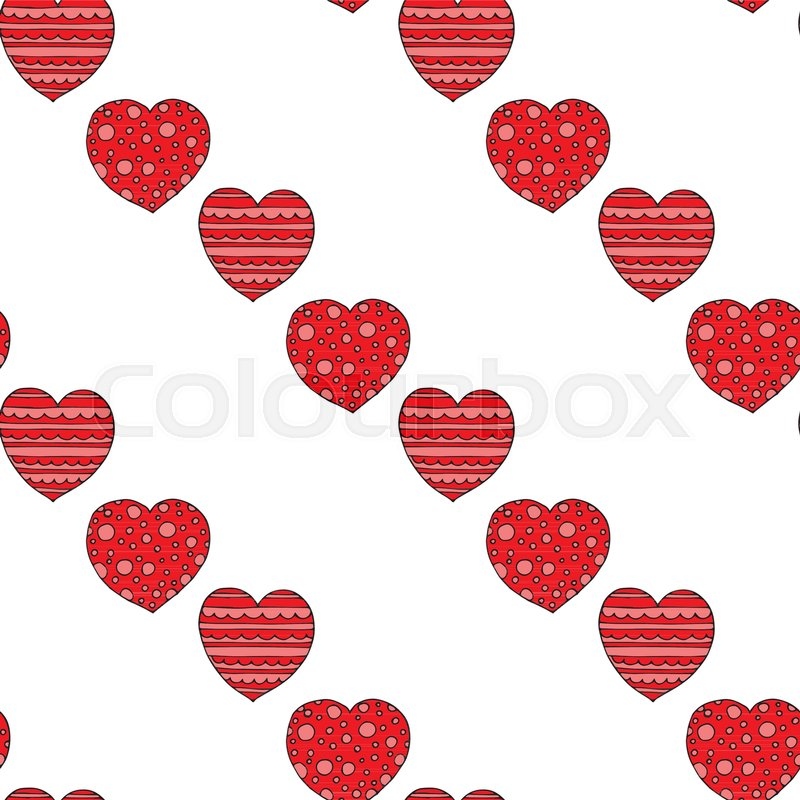 800x800 Love Heart Seamless Vector Pattern. Seamless Vintage Background