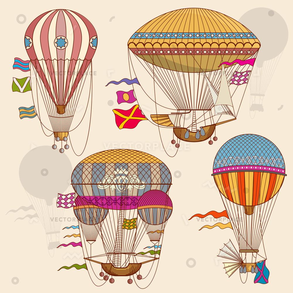 1000x1000 Vintage Air Balloon Set Striped Basket Vector Illustration 23040