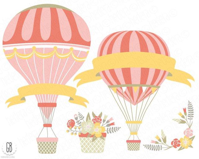 642x513 Vintage Hot Air Balloons Vector Flower Basket Floral Etsy
