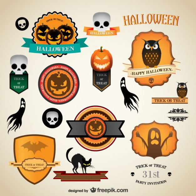 626x626 Halloween Vintage Labels Vector Free Download