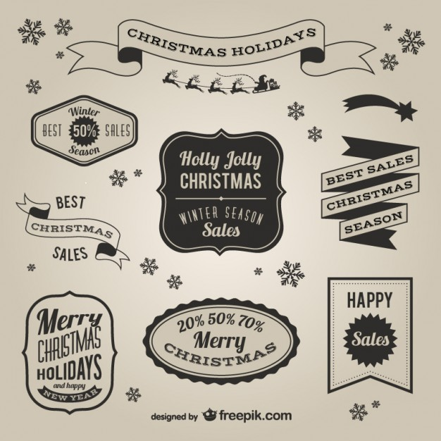 626x626 Retro Style Christmas Sales Labels Vector Free Download