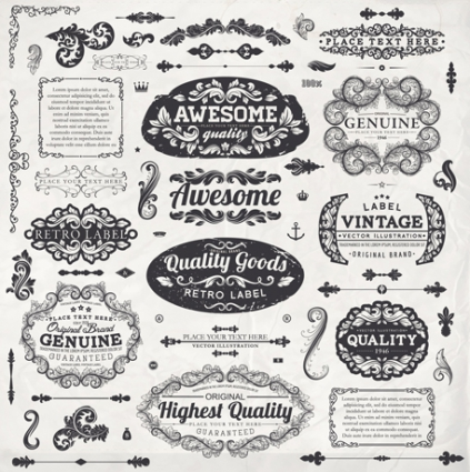 423x425 Vintage Label And Ornaments Design Vector Set Vector Free Vector
