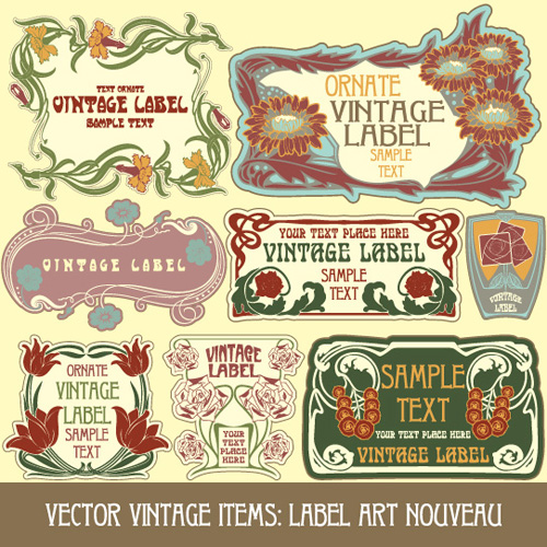 500x500 Vintage Style Label With Flowers Vector Graphic 03 Free Download