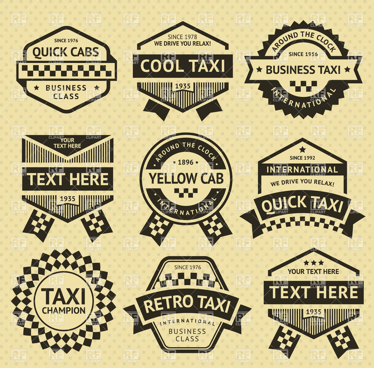 1200x1183 Vintage Style Taxi Cab Labels, Emblems And Stickers Vector Image