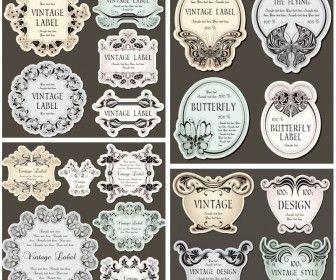 336x280 Decorative Vintage Floral Labels Vector Design Resources