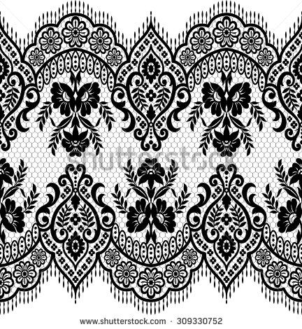 432x470 Seamless Lace Pattern, Flower Vintage Vector Background. Fony