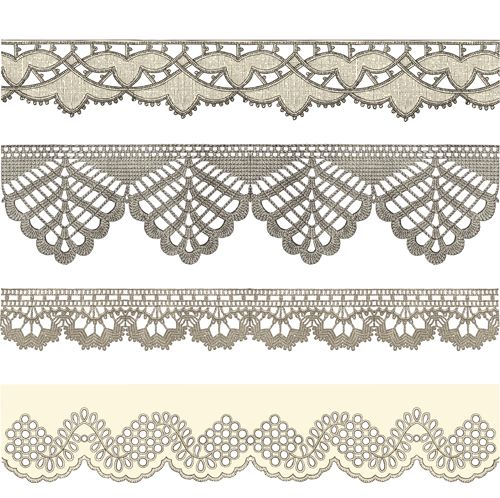 500x498 Vintage Lace Ribbons Vector 01