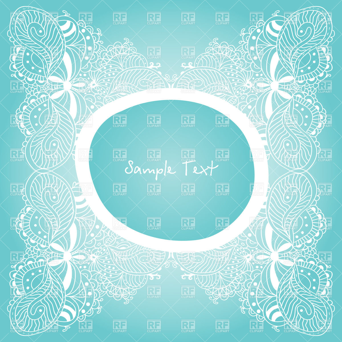 1200x1200 Vintage Lace And Round Frame On Blue Vector Image Vector Artwork