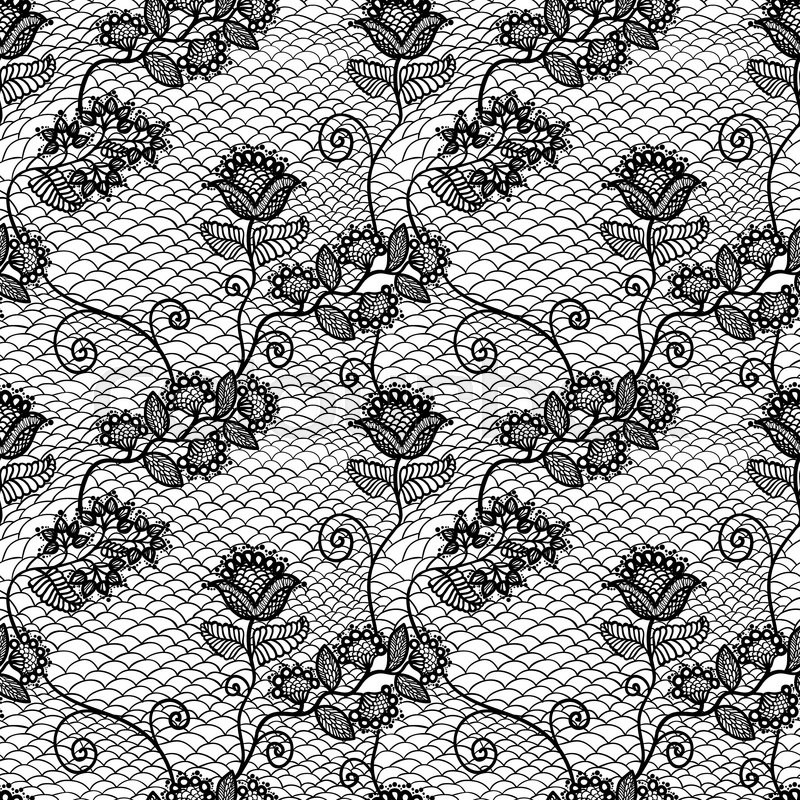 800x800 Vintage Seamless Floral Lace Pattern, Vector Illustration Stock