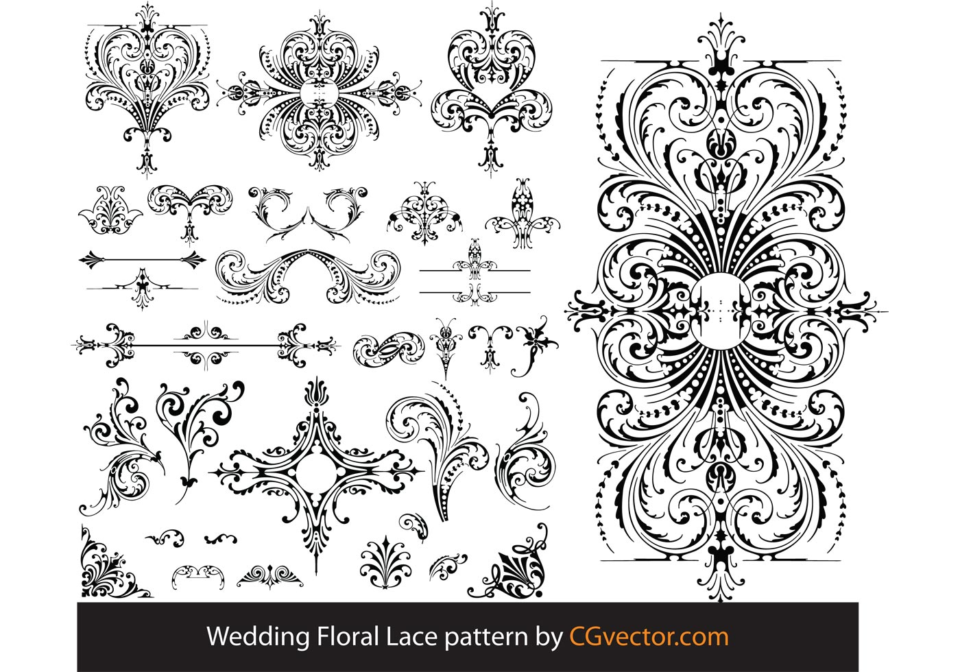 1400x980 Wedding Floral Lace Pattern Vector