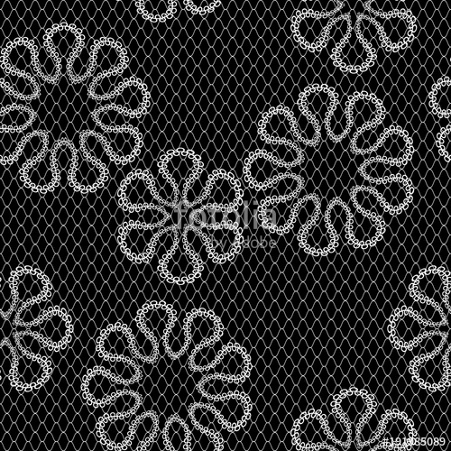 500x500 Vector Seamless Vintage Lace Pattern, Black And White Stock Image