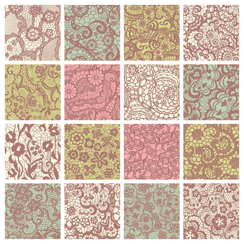 500x500 Beautiful Vintage Lace Pattern Set Vector 02 Free Download