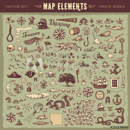 500x500 Vector Illustrated Set Of Various Vintage Map Elements