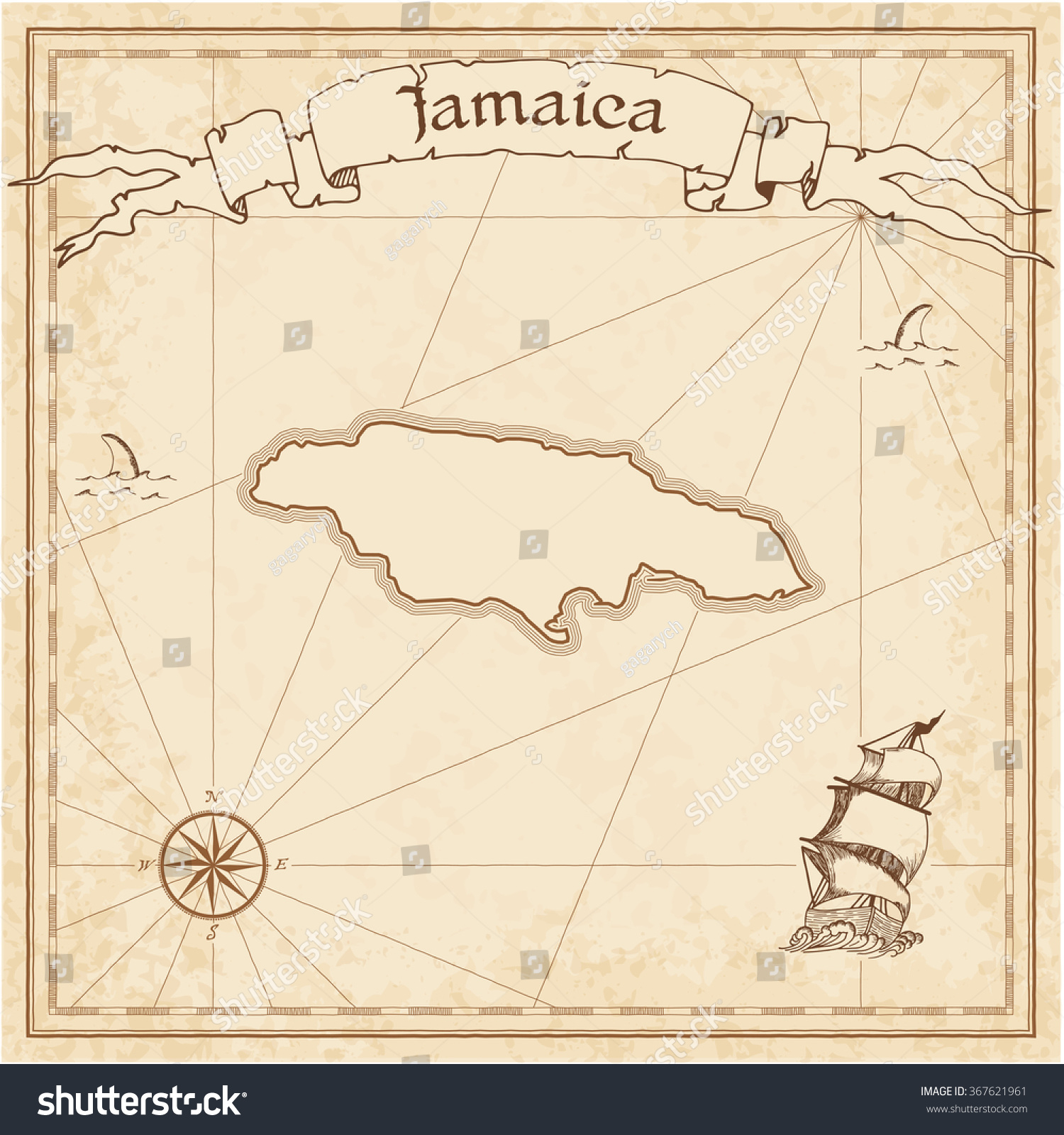 1500x1599 Vintage Map Of Jamaica Jamaica Old Treasure Map Sepia Engraved