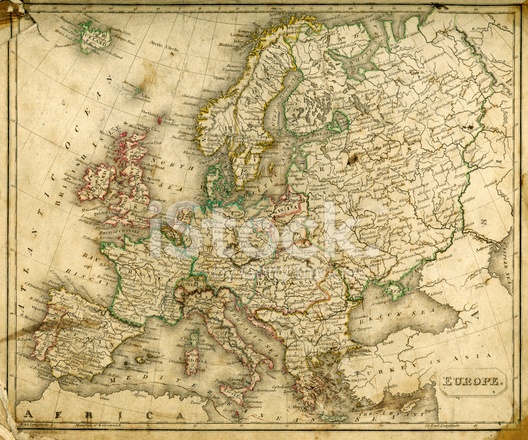 528x440 Vintage Map Of Europe Stock Vector