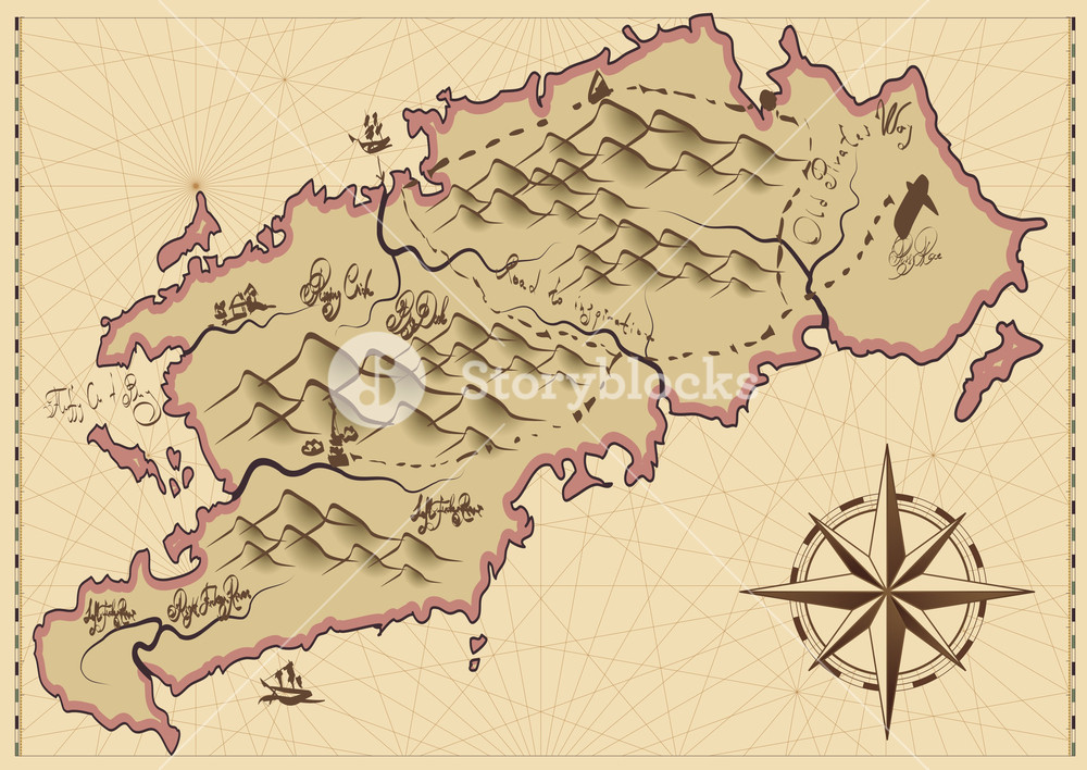 1000x708 Vintage Map. Vector. Royalty Free Stock Image