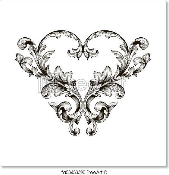 561x581 Free Art Print Of Classical Baroque Ornament Vector. Classical